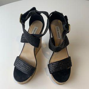 Steve Madden Black Strappy Cork Wedge Heel Sandals